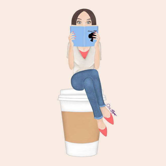 Chic Bytes Original Character Camille, Coffee and Book